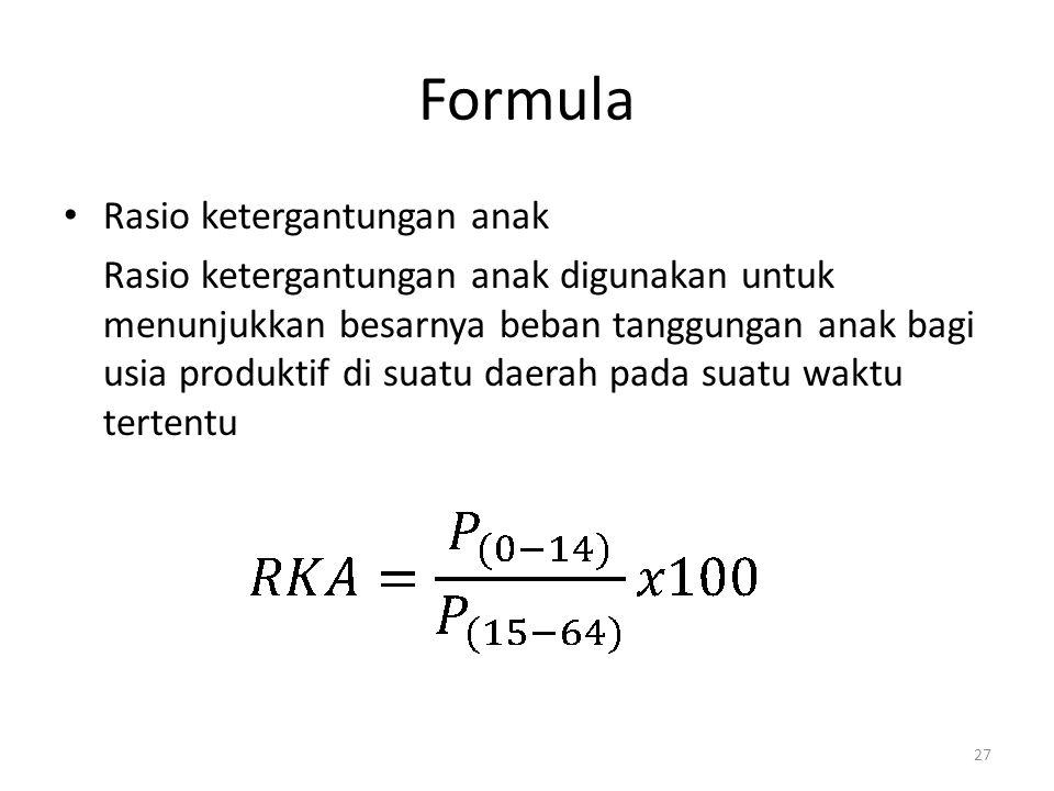 Formula Rasio ketergantungan anak