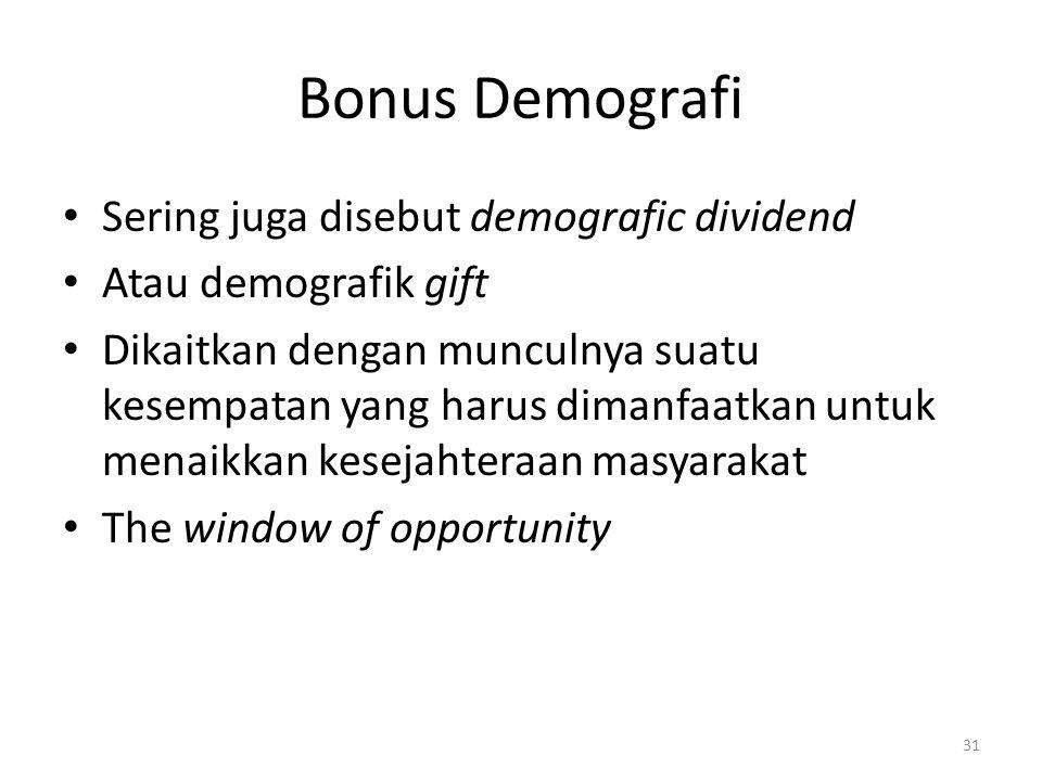 Bonus Demografi Sering juga disebut demografic dividend