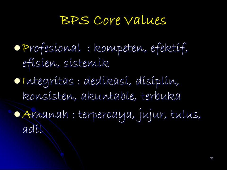 BPS Core Values Profesional : kompeten, efektif, efisien, sistemik