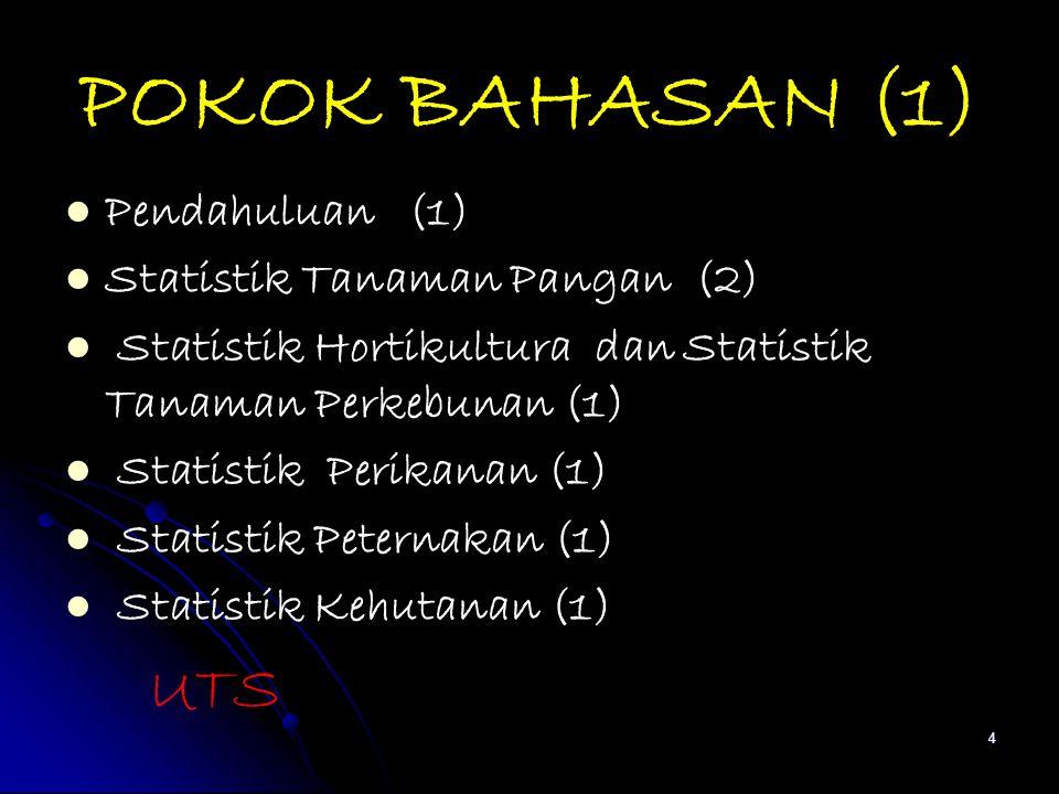 POKOK BAHASAN (1) Pendahuluan (1) Statistik Tanaman Pangan (2)