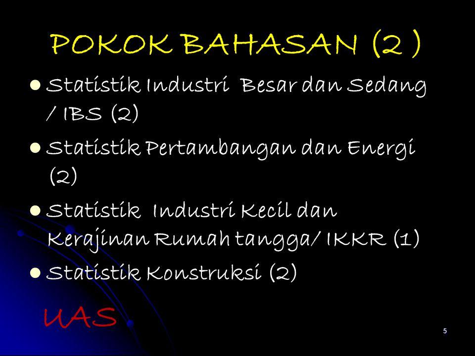 POKOK BAHASAN (2 ) Statistik Industri Besar dan Sedang / IBS (2)