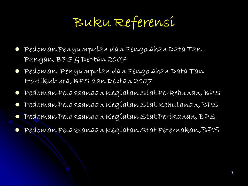 Buku Referensi Pedoman Pengumpulan dan Pengolahan Data Tan. Pangan, BPS & Deptan 2007.