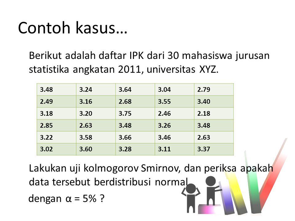 Contoh kasus… Berikut adalah daftar IPK dari 30 mahasiswa jurusan statistika angkatan 2011, universitas XYZ.