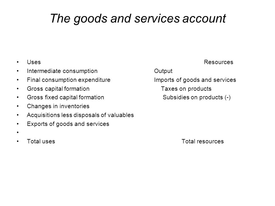 The goods and services account