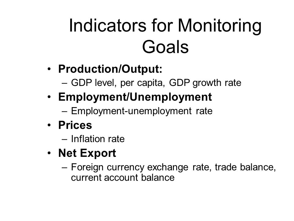 Indicators for Monitoring Goals
