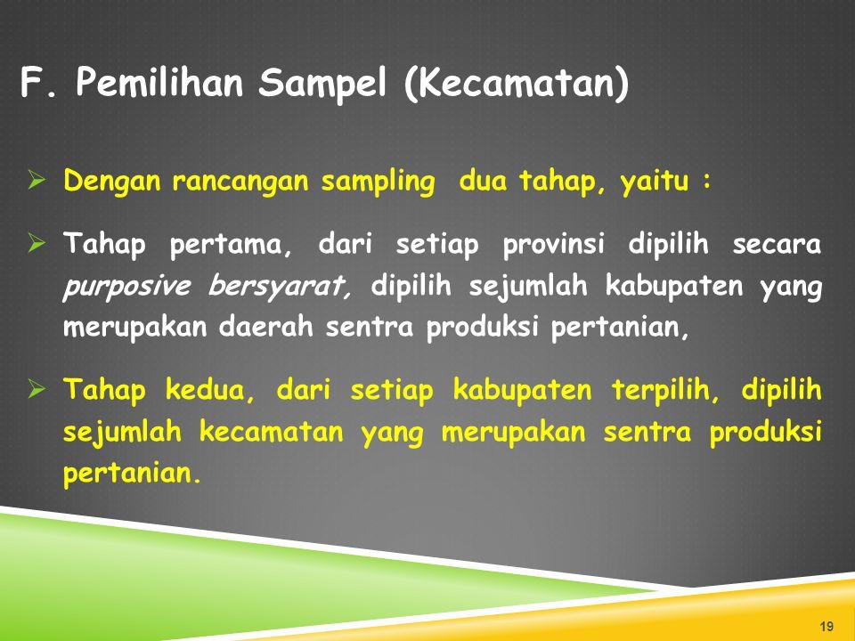 F. Pemilihan Sampel (Kecamatan)