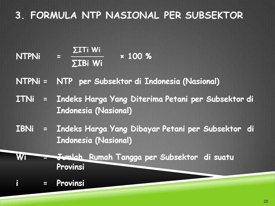 Formula NTP Nasional Per Subsektor