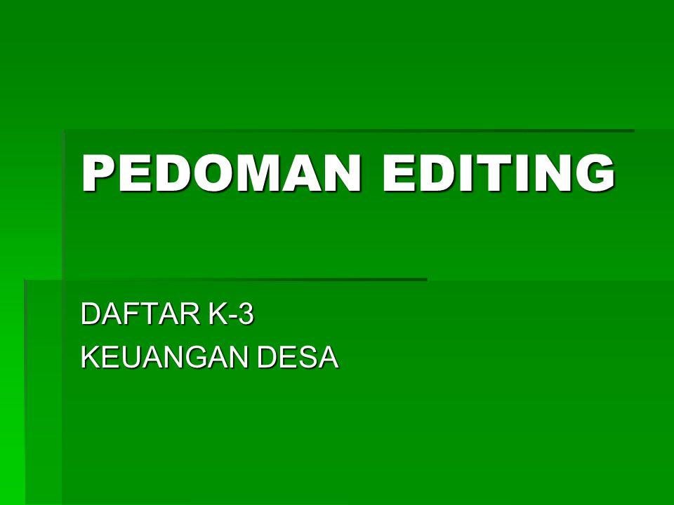 DAFTAR K-3 KEUANGAN DESA