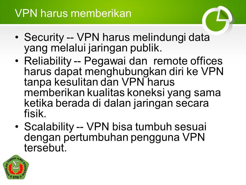 VPN harus memberikan Security -- VPN harus melindungi data yang melalui jaringan publik.