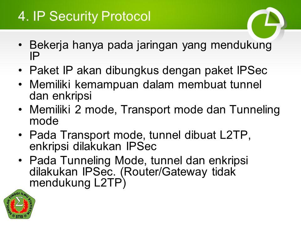 4. IP Security Protocol Bekerja hanya pada jaringan yang mendukung IP
