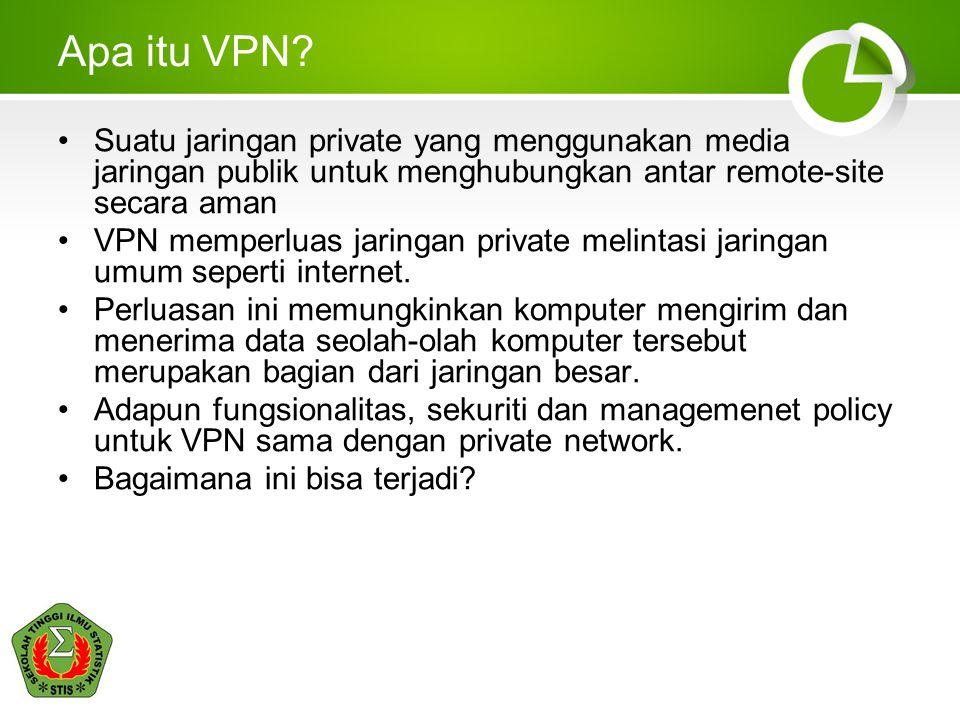 Apa itu VPN Suatu jaringan private yang menggunakan media jaringan publik untuk menghubungkan antar remote-site secara aman.