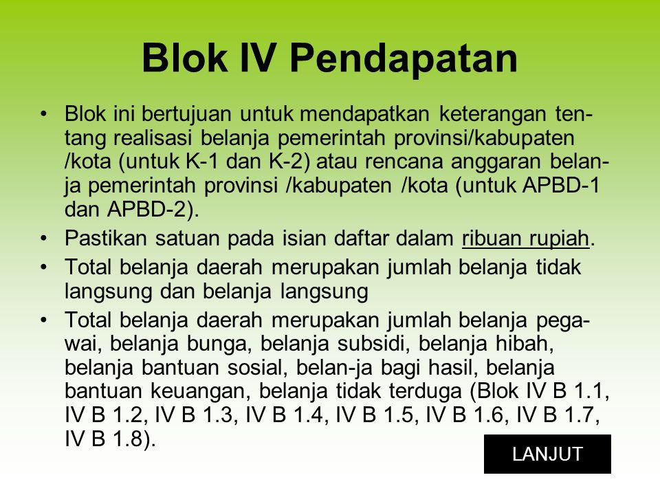 Blok IV Pendapatan