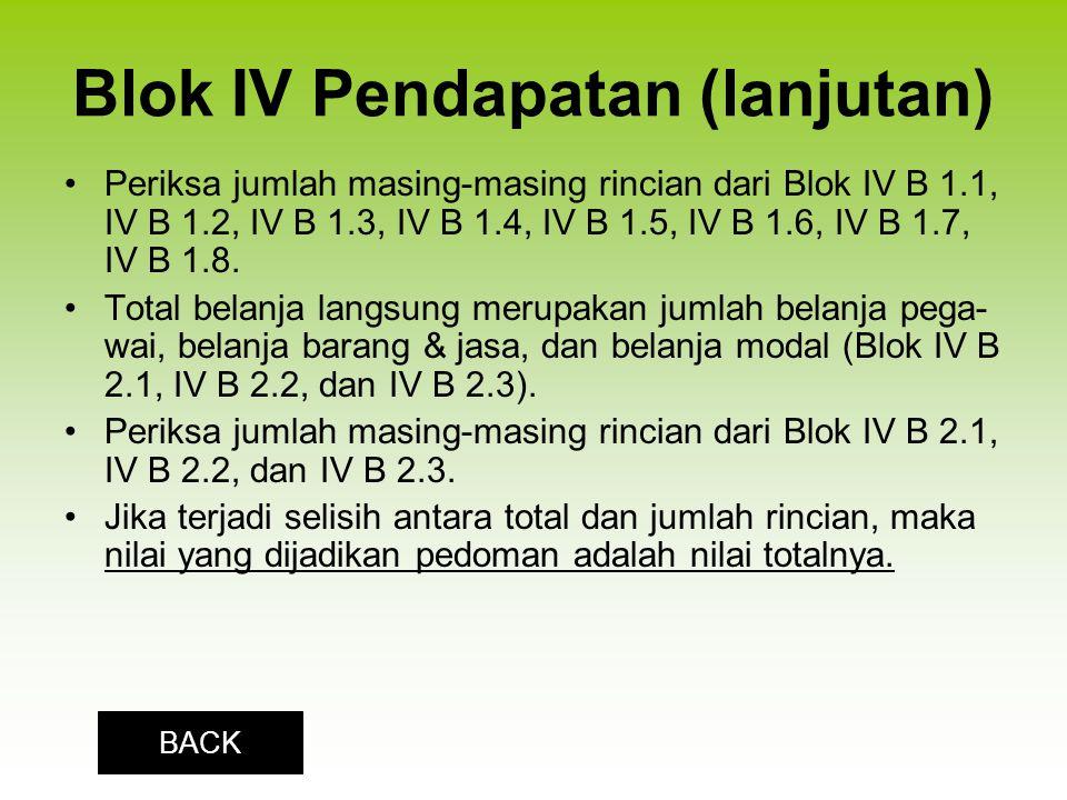 Blok IV Pendapatan (lanjutan)