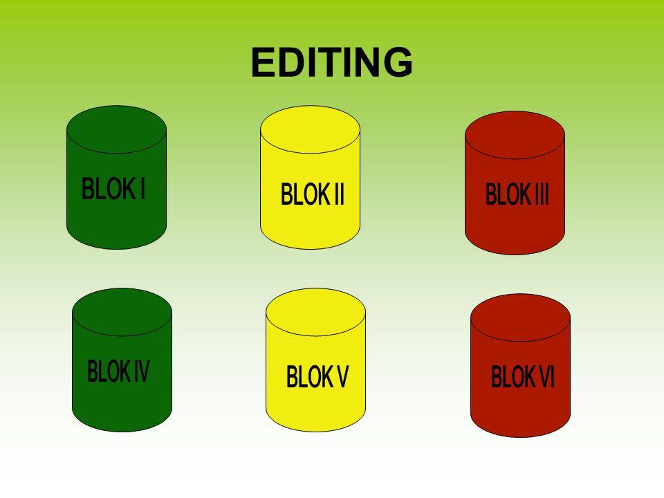 EDITING BLOK I BLOK II BLOK III BLOK IV BLOK V BLOK VI