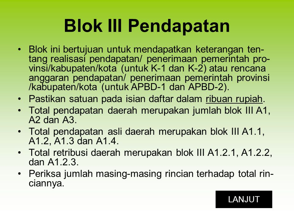 Blok III Pendapatan