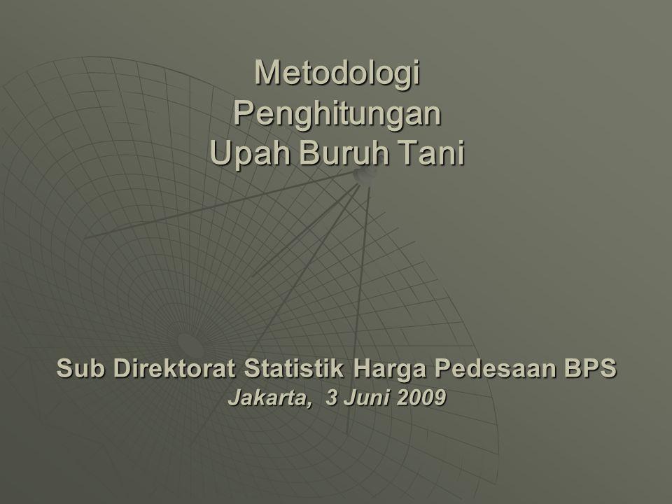 Metodologi Penghitungan Upah Buruh Tani Sub Direktorat Statistik Harga Pedesaan BPS Jakarta, 3 Juni 2009
