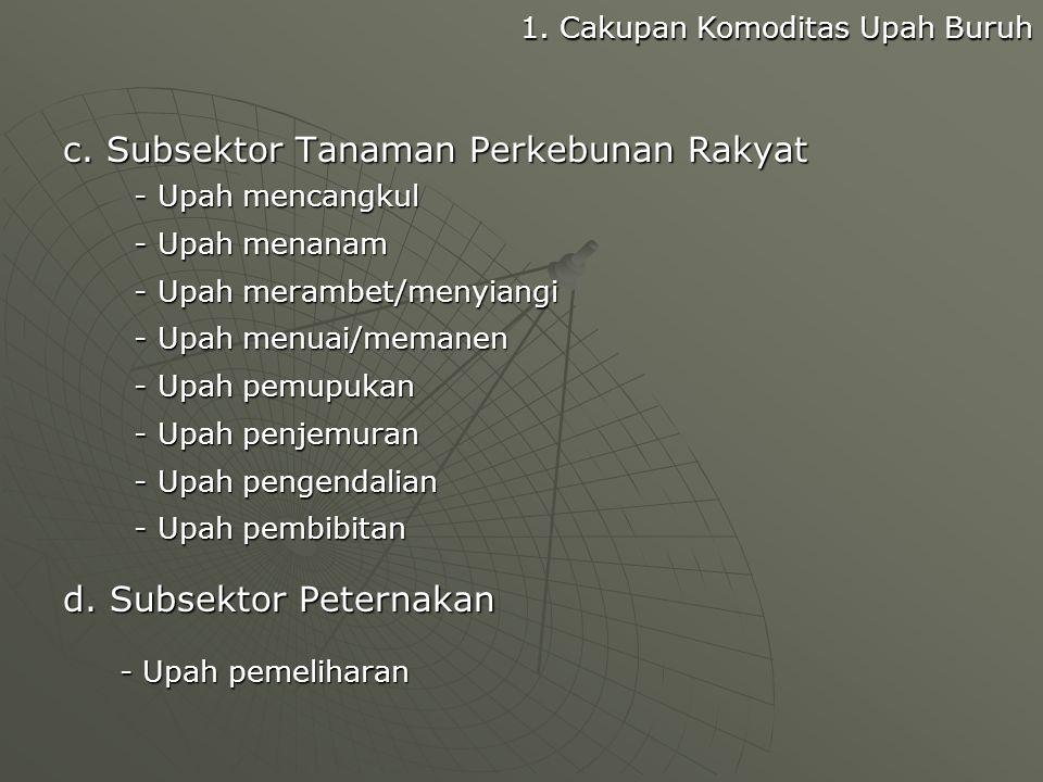 c. Subsektor Tanaman Perkebunan Rakyat
