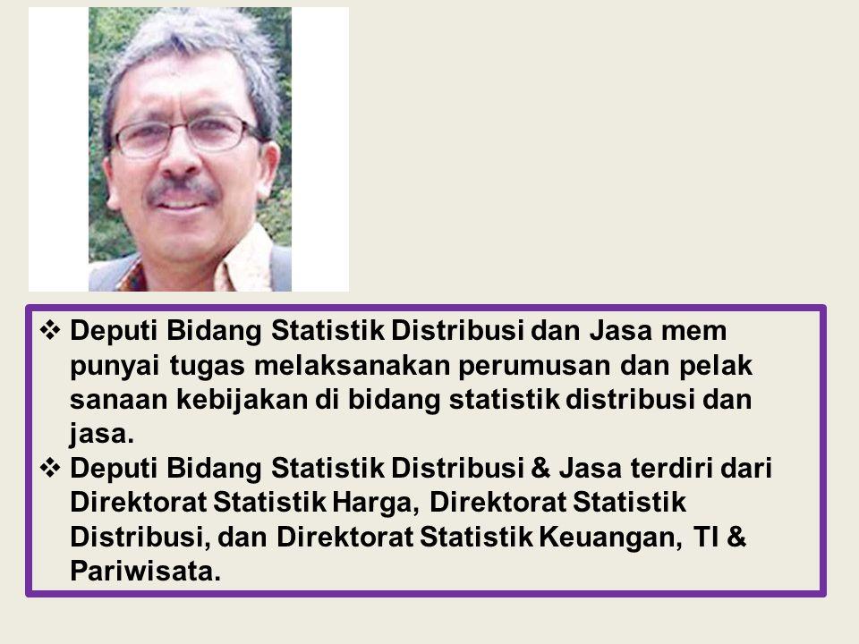 Deputi Bidang Statistik Distribusi dan Jasa mem punyai tugas melaksanakan perumusan dan pelak sanaan kebijakan di bidang statistik distribusi dan jasa.