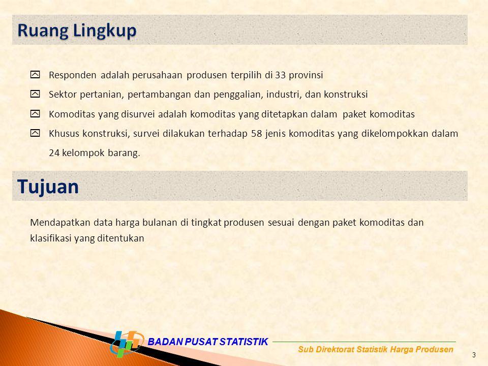 Ruang Lingkup Responden adalah perusahaan produsen terpilih di 33 provinsi. Sektor pertanian, pertambangan dan penggalian, industri, dan konstruksi.