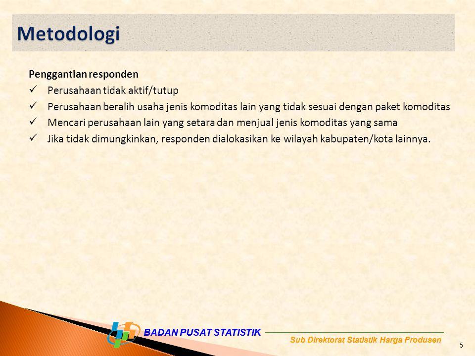 Metodologi Penggantian responden Perusahaan tidak aktif/tutup