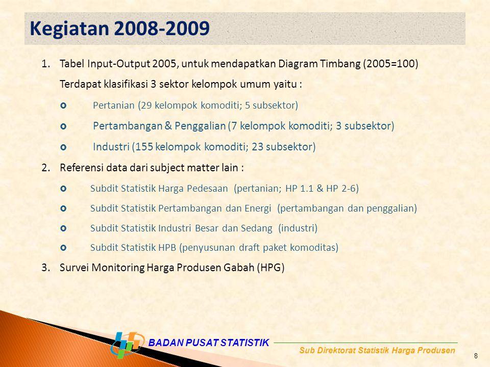 Kegiatan 2008-2009 Tabel Input-Output 2005, untuk mendapatkan Diagram Timbang (2005=100) Terdapat klasifikasi 3 sektor kelompok umum yaitu :