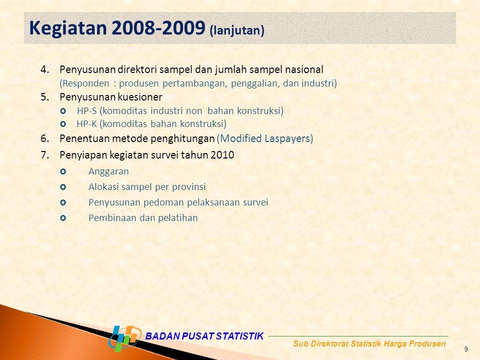 Kegiatan 2008-2009 (lanjutan) Penyusunan direktori sampel dan jumlah sampel nasional. (Responden : produsen pertambangan, penggalian, dan industri)