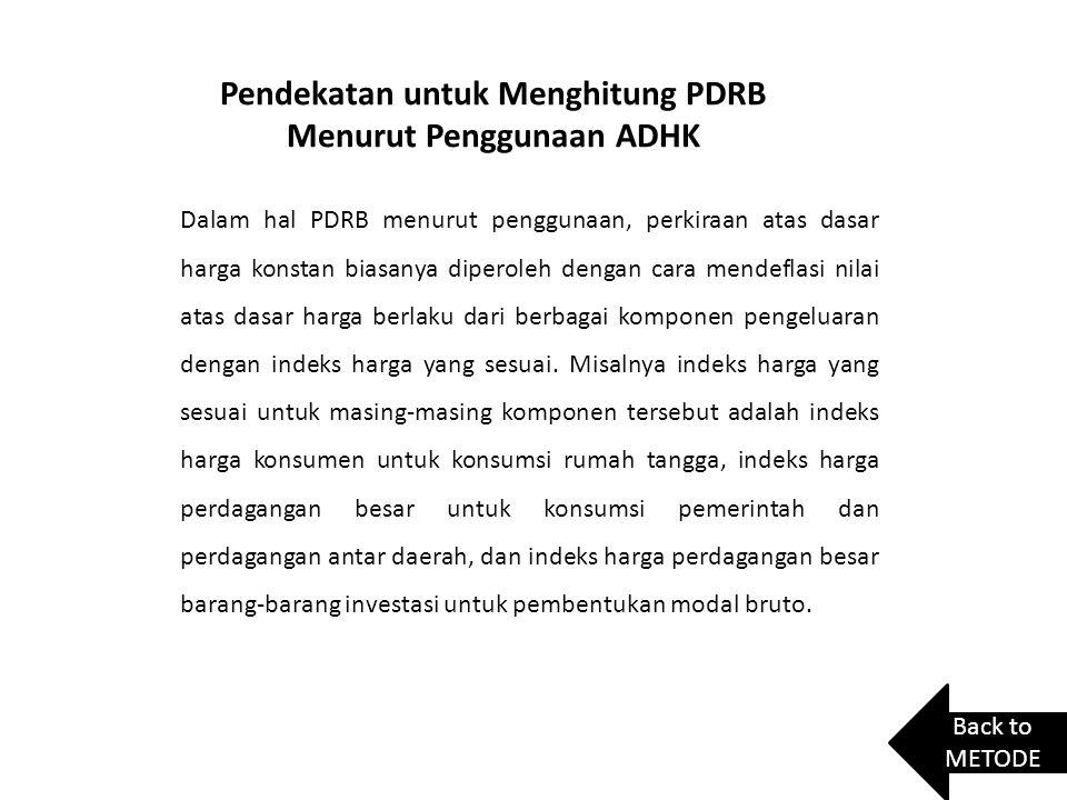 Pendekatan untuk Menghitung PDRB Menurut Penggunaan ADHK