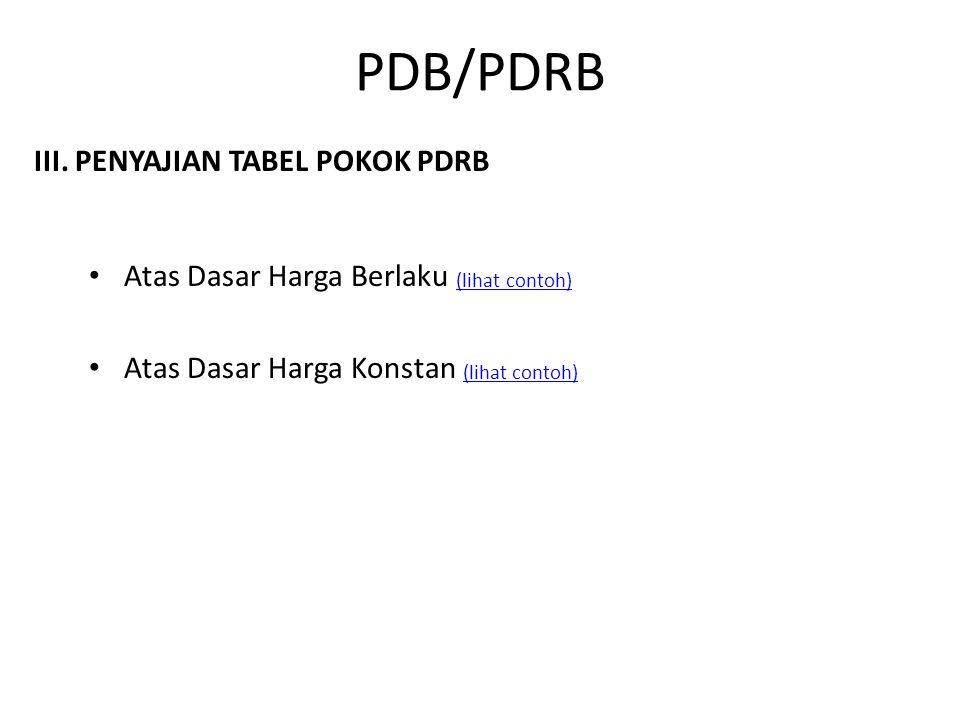 PDB/PDRB III. PENYAJIAN TABEL POKOK PDRB