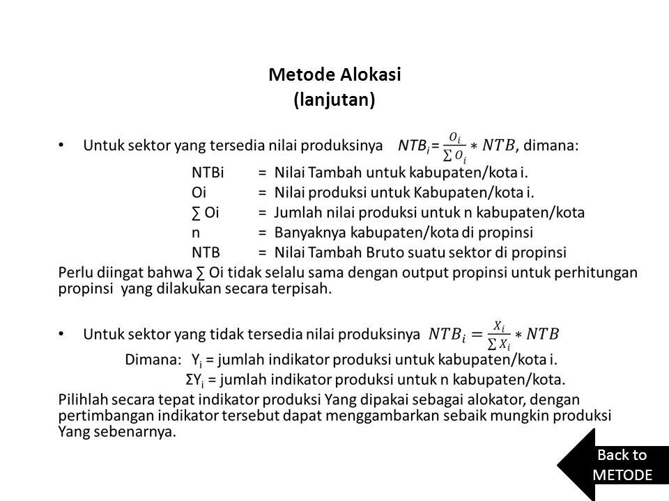 Metode Alokasi (lanjutan)