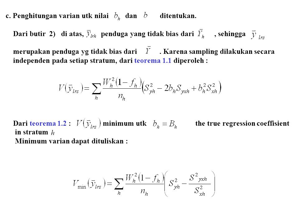c. Penghitungan varian utk nilai dan ditentukan.