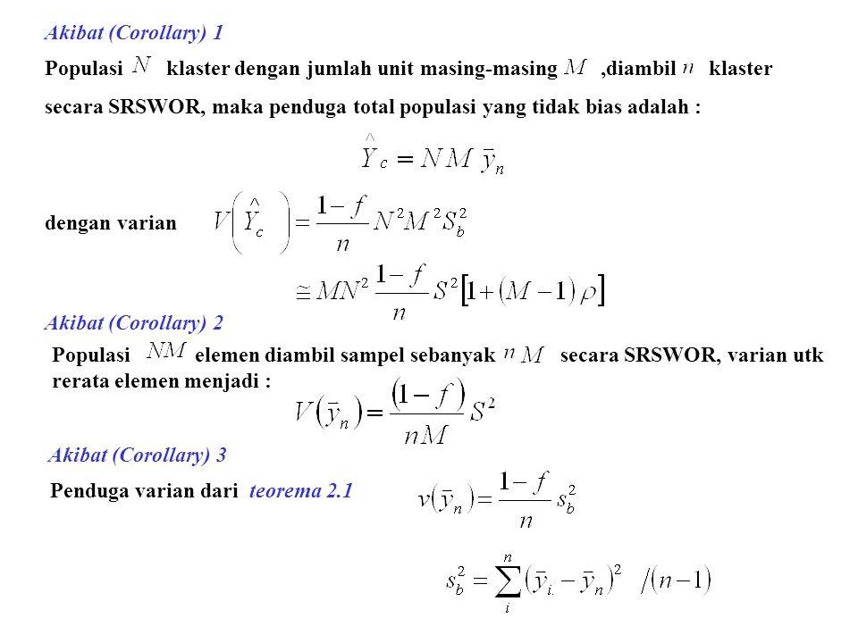 Akibat (Corollary) 1 Populasi klaster dengan jumlah unit masing-masing ,diambil klaster.