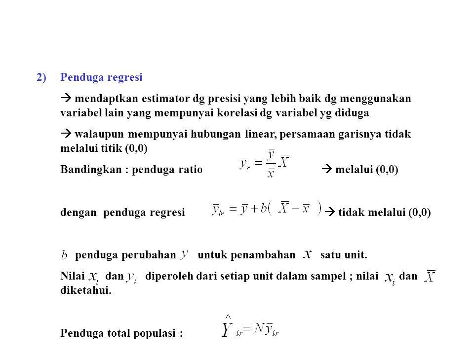 2) Penduga regresi  mendaptkan estimator dg presisi yang lebih baik dg menggunakan variabel lain yang mempunyai korelasi dg variabel yg diduga.