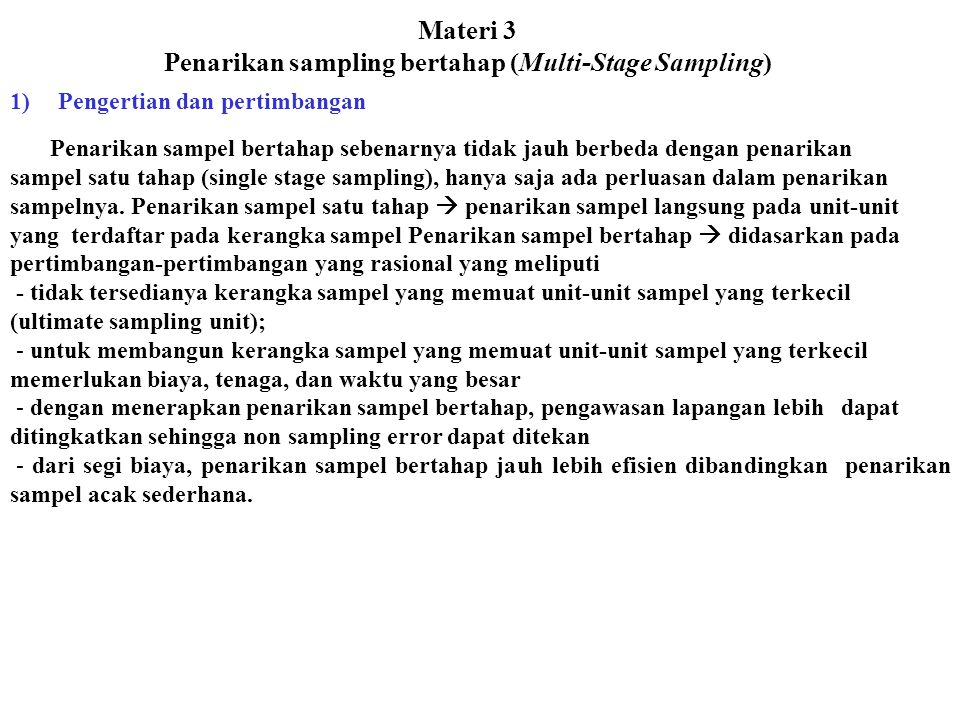 Materi 3 Penarikan sampling bertahap (Multi-Stage Sampling)