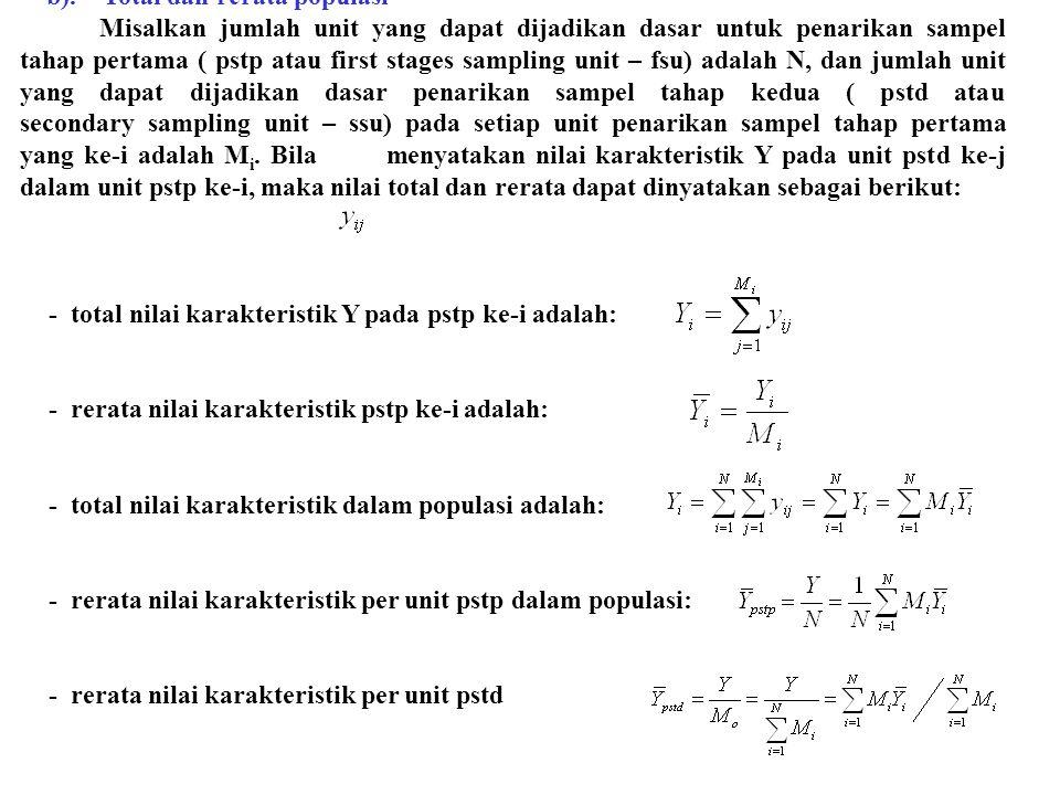 b). Total dan rerata populasi