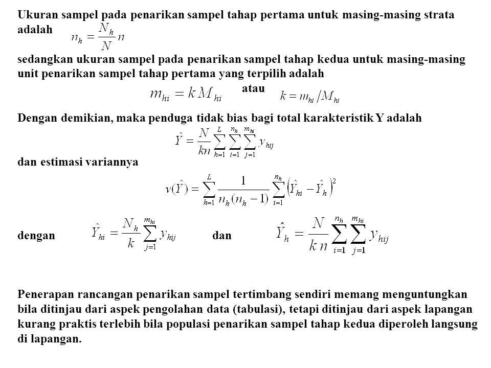 Ukuran sampel pada penarikan sampel tahap pertama untuk masing-masing strata