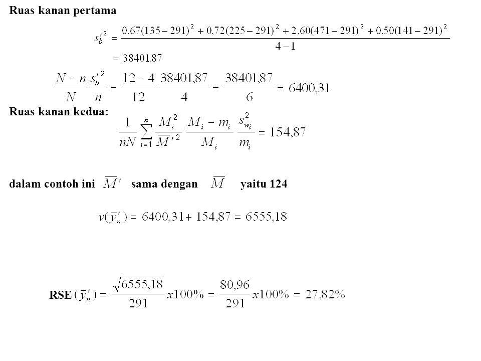 Ruas kanan pertama Ruas kanan kedua: dalam contoh ini sama dengan yaitu 124.