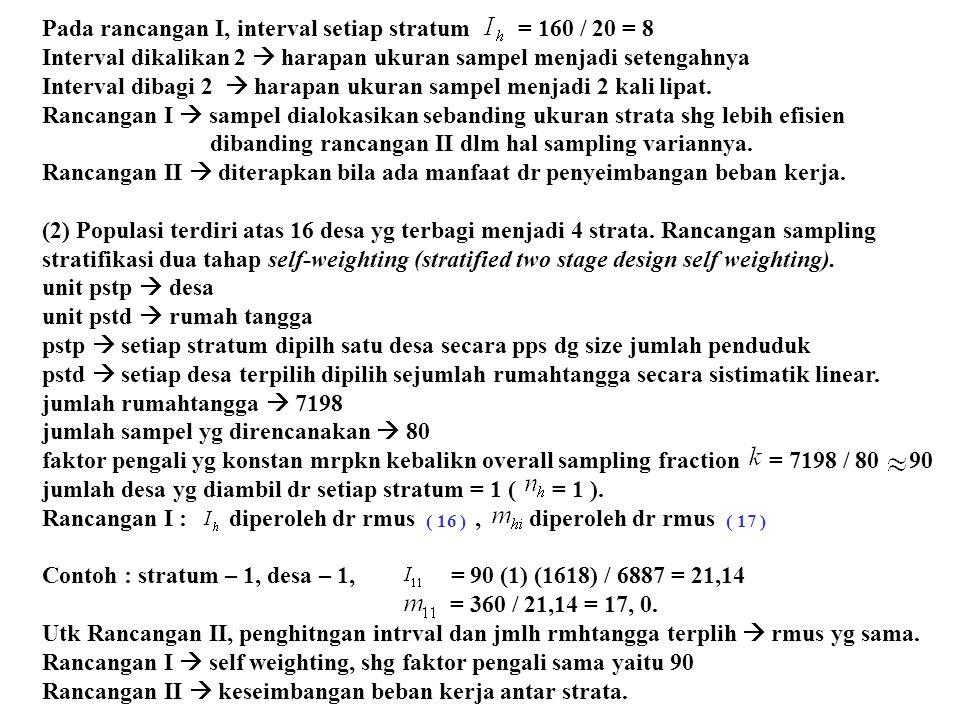Pada rancangan I, interval setiap stratum = 160 / 20 = 8