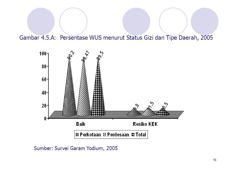 Gambar 4.5.A: Persentase WUS menurut Status Gizi dan Tipe Daerah, 2005