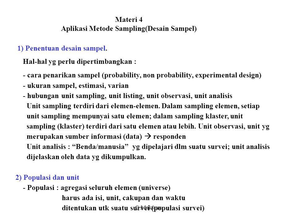 Materi 4 Aplikasi Metode Sampling(Desain Sampel)