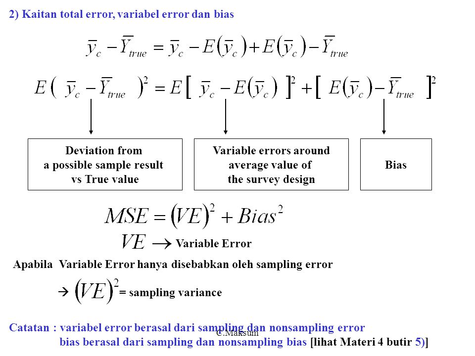 a possible sample result Variable errors around