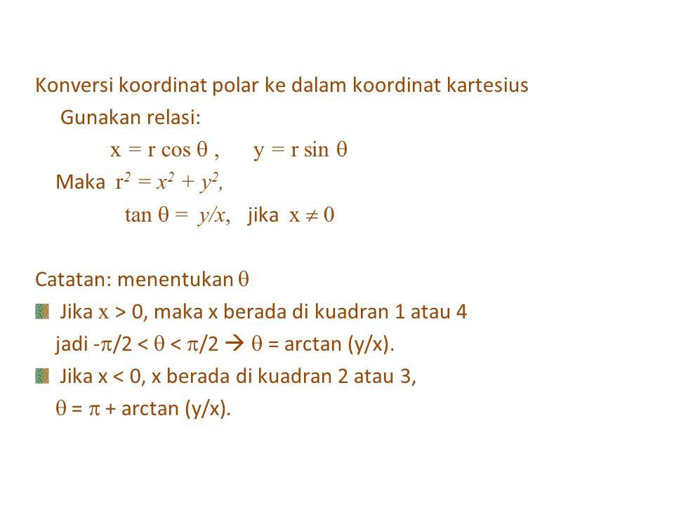 Konversi koordinat polar ke dalam koordinat kartesius