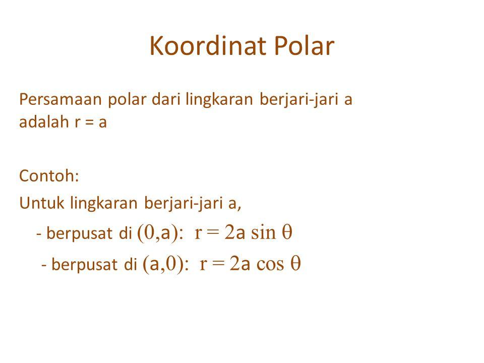 Koordinat Polar Persamaan polar dari lingkaran berjari-jari a adalah r = a. Contoh: Untuk lingkaran berjari-jari a,