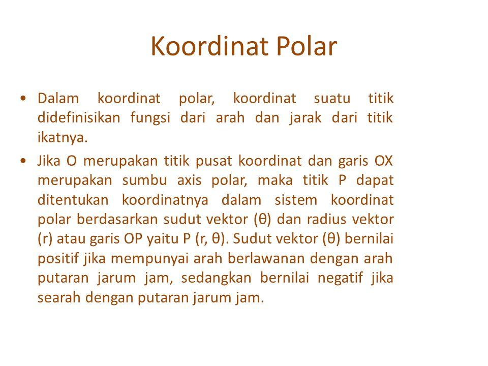 Koordinat Polar Dalam koordinat polar, koordinat suatu titik didefinisikan fungsi dari arah dan jarak dari titik ikatnya.