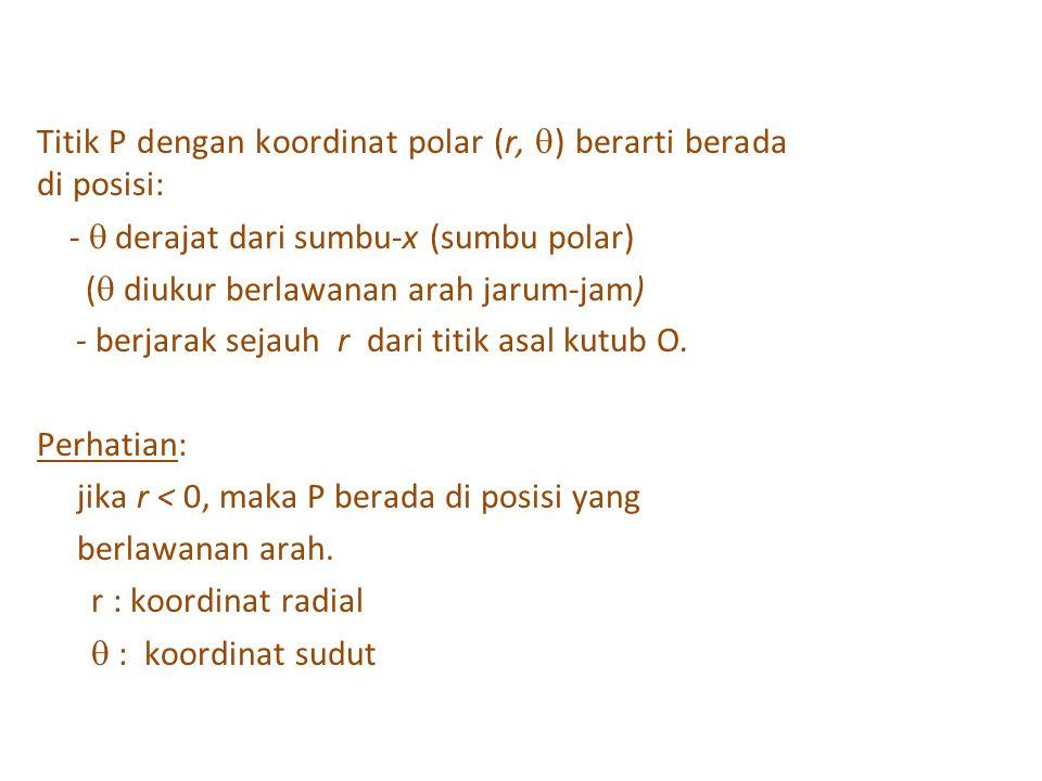 Titik P dengan koordinat polar (r, ) berarti berada di posisi:
