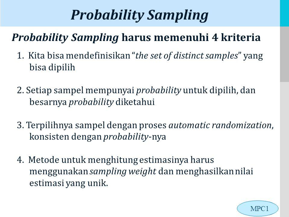 Probability Sampling Probability Sampling harus memenuhi 4 kriteria