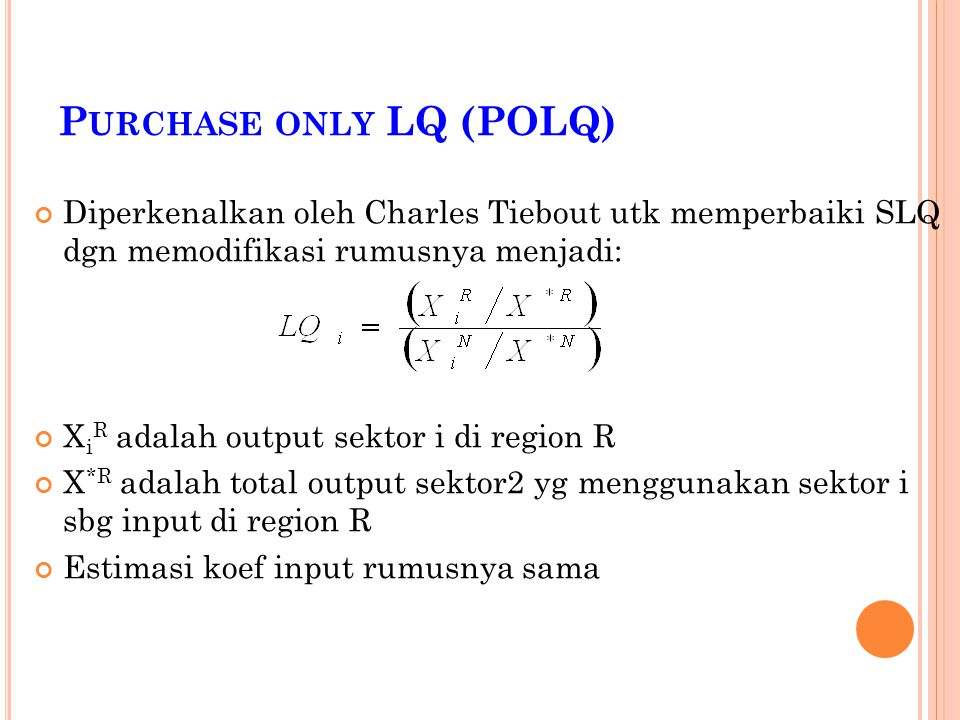 Purchase only LQ (POLQ)
