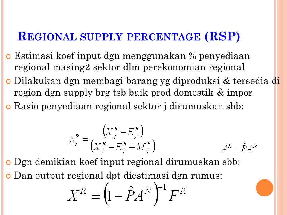 Regional supply percentage (RSP)