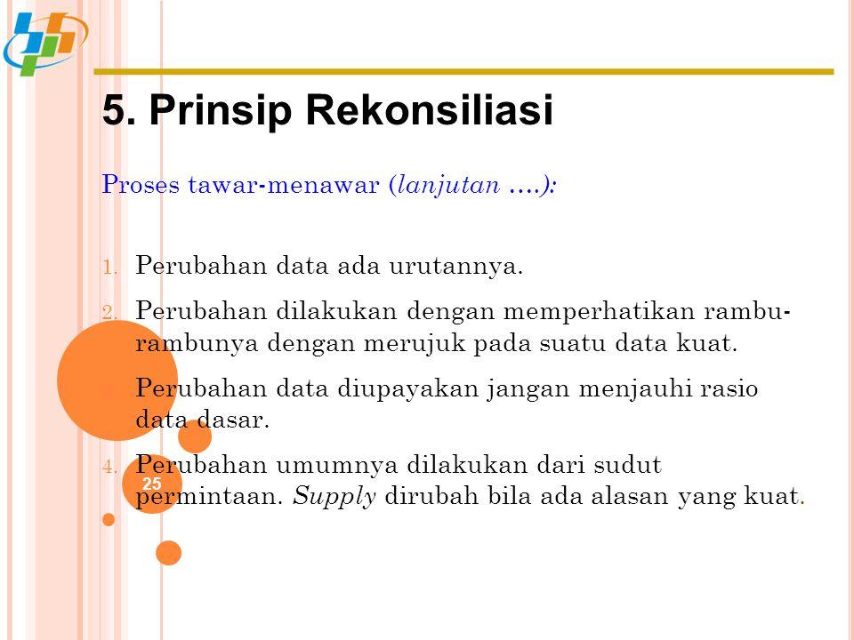 5. Prinsip Rekonsiliasi Proses tawar-menawar (lanjutan ….):