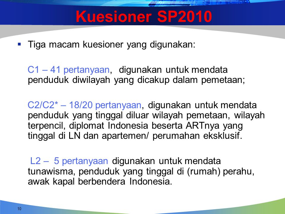 Kuesioner SP2010 Tiga macam kuesioner yang digunakan: