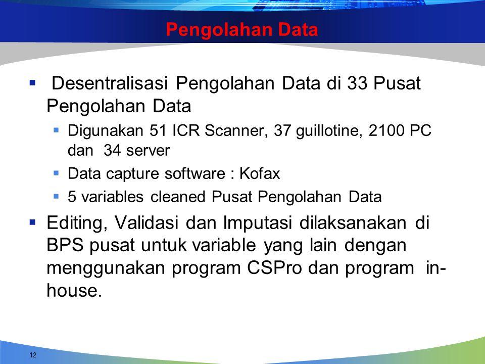 Desentralisasi Pengolahan Data di 33 Pusat Pengolahan Data